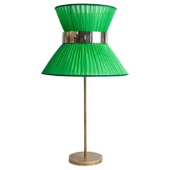 Tiffany Contemporary Table Lamp 40 Grass Silk Silvered Glass Antiqued Brass