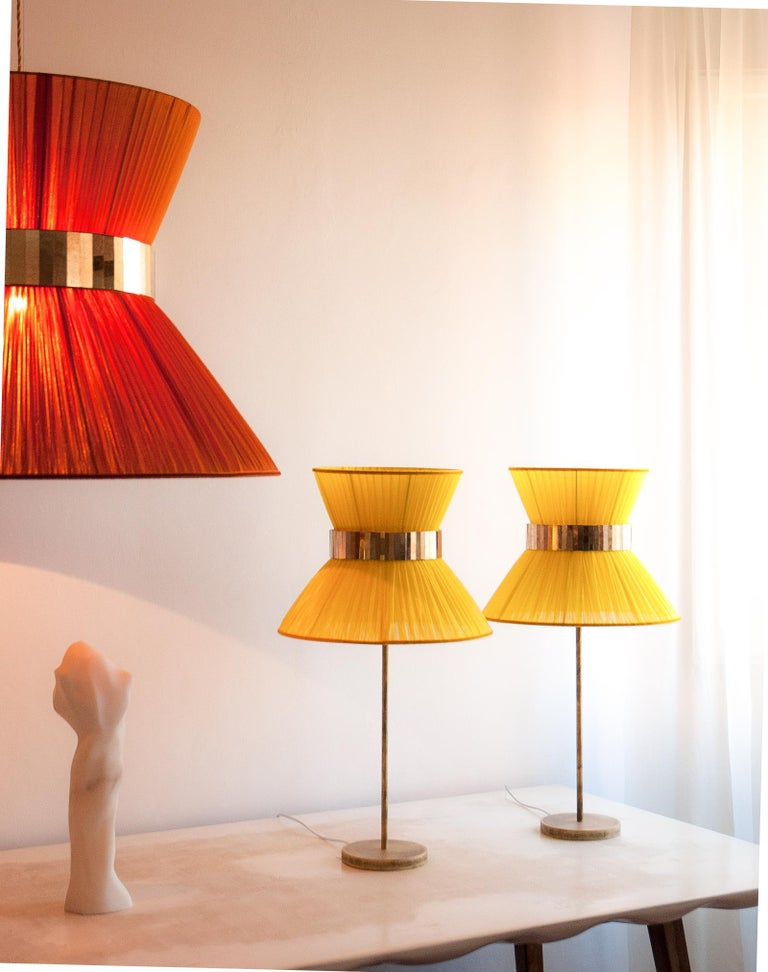 Tiffany contemporary table Lamp 40 ivory Silk Antique Brass,Silvered Glass      In New Condition For Sale In Pietrasanta, IT