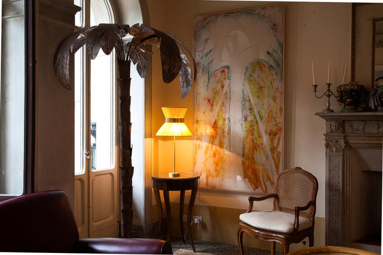 Tiffany contemporary table Lamp 40 Sun Silk, Antiqued Brass,Silvered Glass      In New Condition For Sale In Pietrasanta, IT