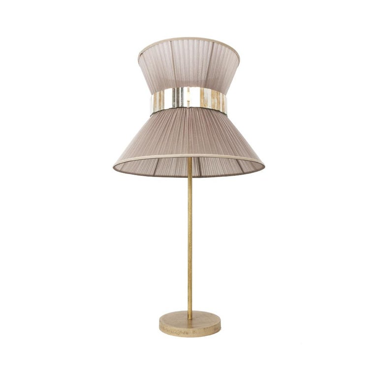 Italian Tiffany Contemporary Table Lamp 40 Beige Silk Silvered Glass Belt Antiqued Bras For Sale