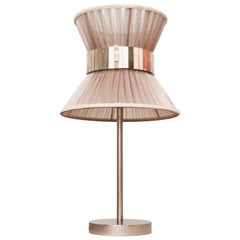 Tiffany Contemporary Table Lamp Champagne Silk, Silvered Glass, Nickel Brass