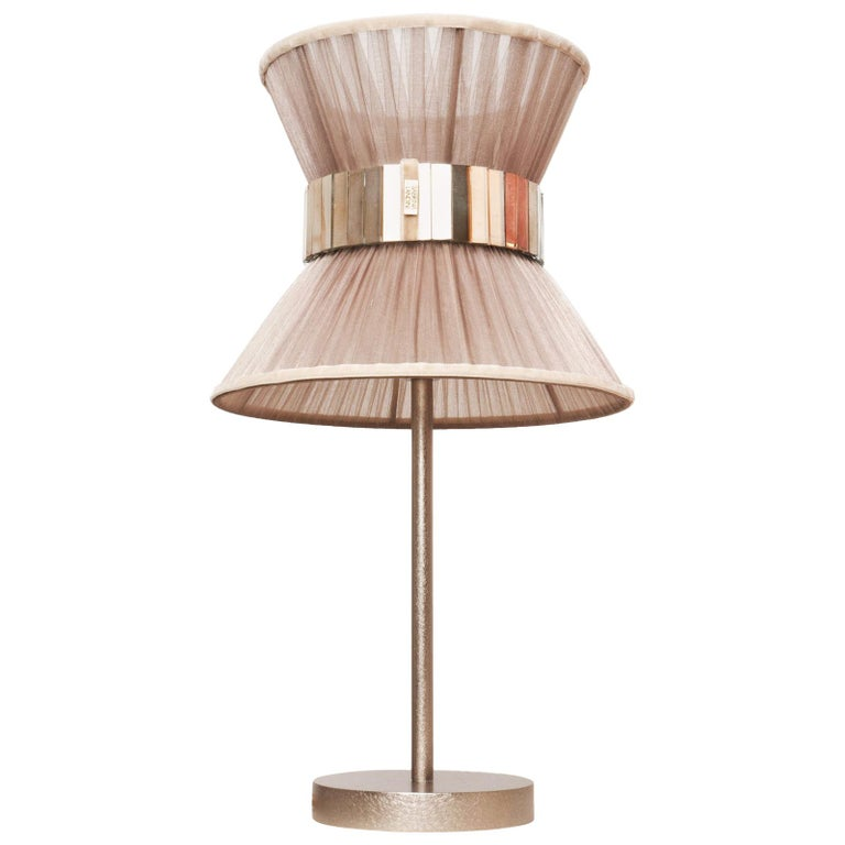 Tiffany Contemporary Table Lamp Champagne Silk, Silvered Glass, Nickel Brass For Sale