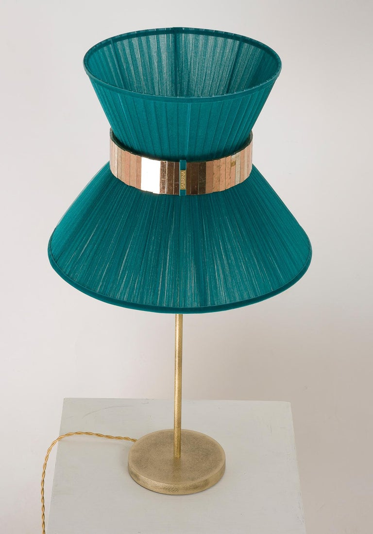 Modern Tiffany Contemporary Table Lamp Emerald Silk Silvered Glass Brass Canopy For Sale