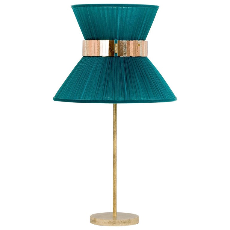 Tiffany Contemporary Table Lamp Emerald Silk Silvered Glass Brass Canopy For Sale