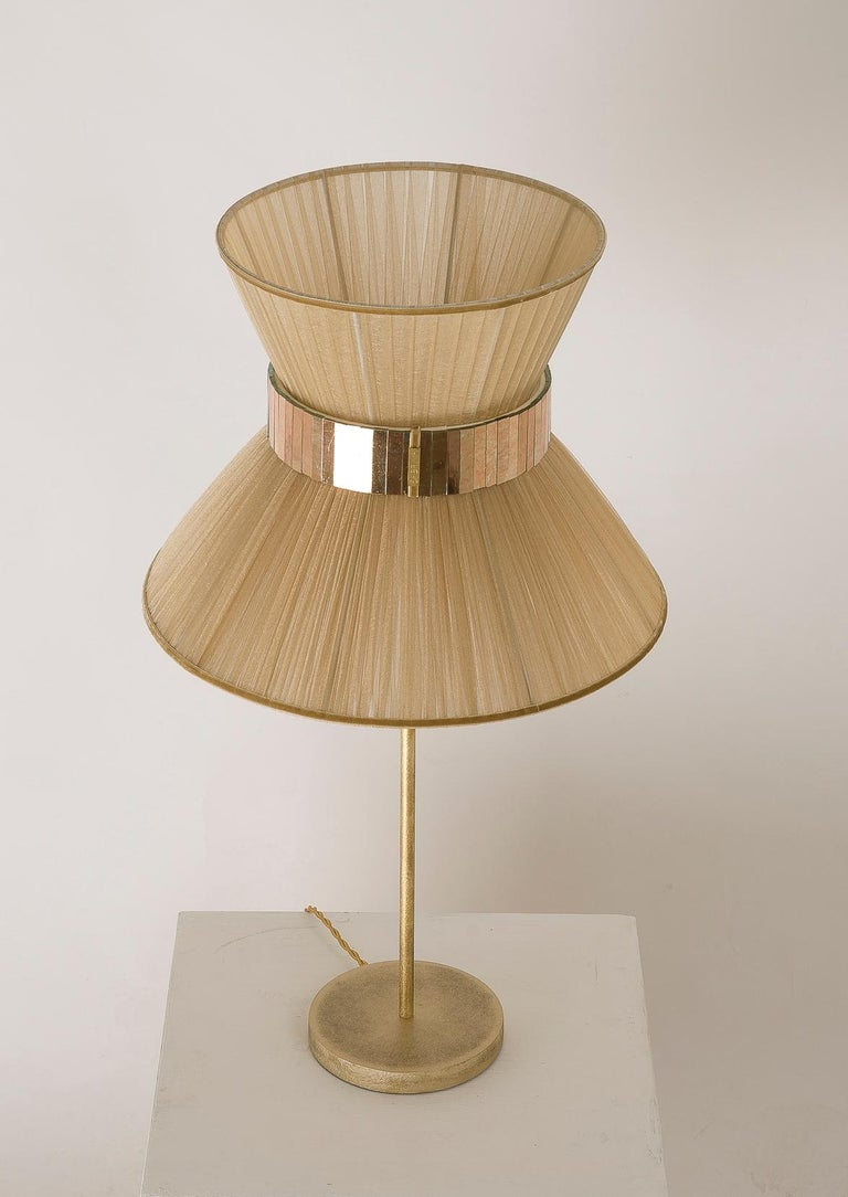 Modern Tiffany Contemporary Table Lamp Gold Silk Silvered Glass For Sale