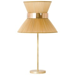Tiffany Contemporary Table Lamp 40 Gold Silk Silvered Glass antiqued brass
