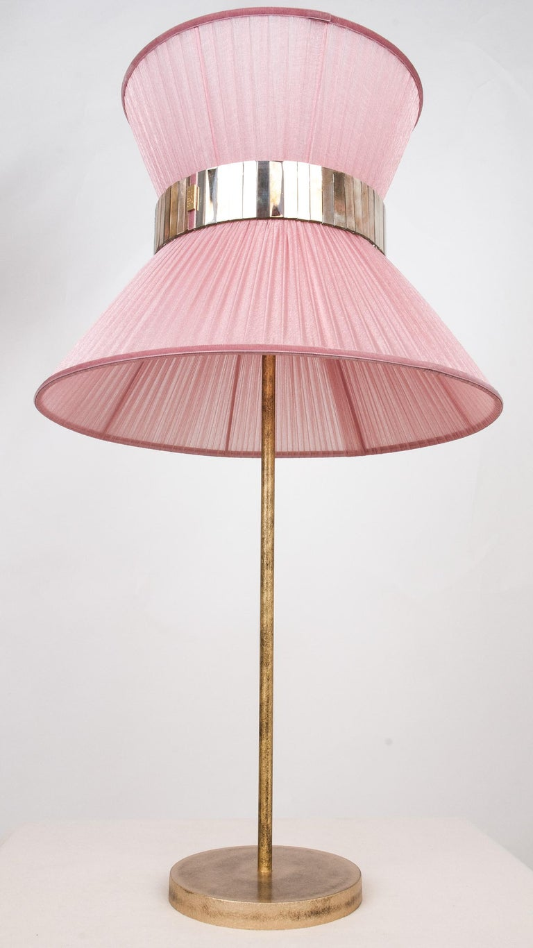 Modern Tiffany Contemporary Table Lamp 40 Blush Silk Silvered Glass Belt Antiqued Bras For Sale