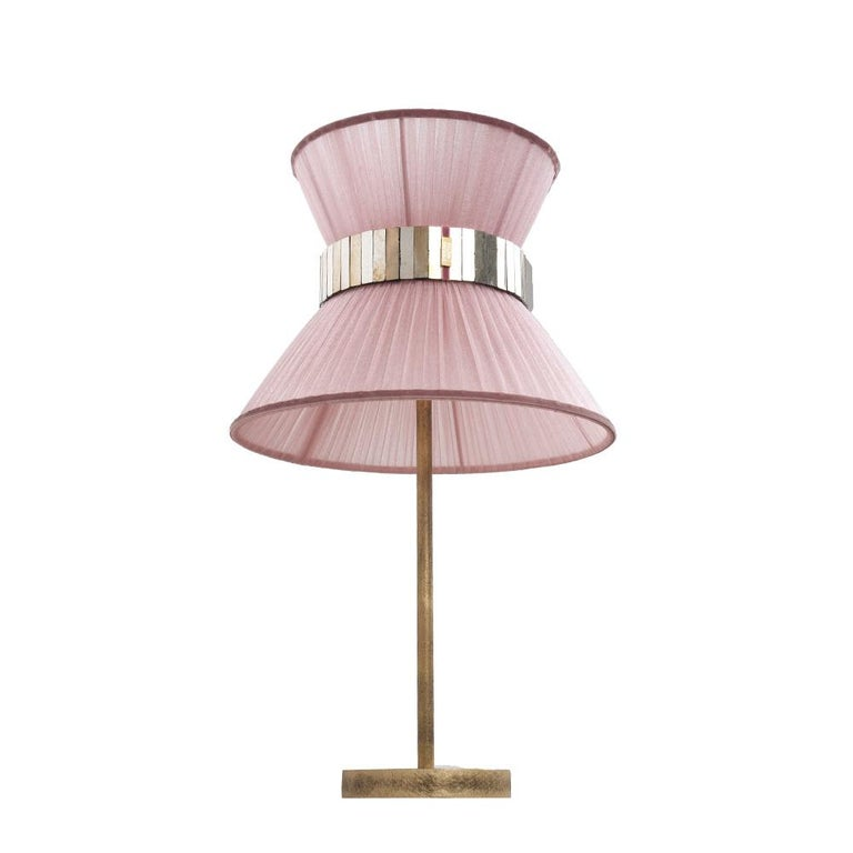 Tiffany Contemporary Table Lamp 40 Blush Silk Silvered Glass Belt Antiqued Bras In New Condition For Sale In Pietrasanta, IT