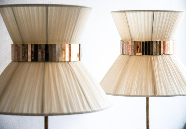 Tiffany contemporary table Lamp Silk, Antiqued Brass, Silvered Glass      In New Condition In Pietrasanta, IT