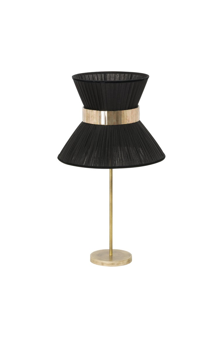 Modern Tiffany Contemporary Table Lamp Silver Silk Silvered Glass Brass Canopy For Sale
