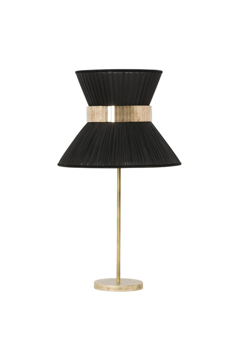 Italian Tiffany Contemporary Table Lamp Silver Silk Silvered Glass Brass Canopy For Sale