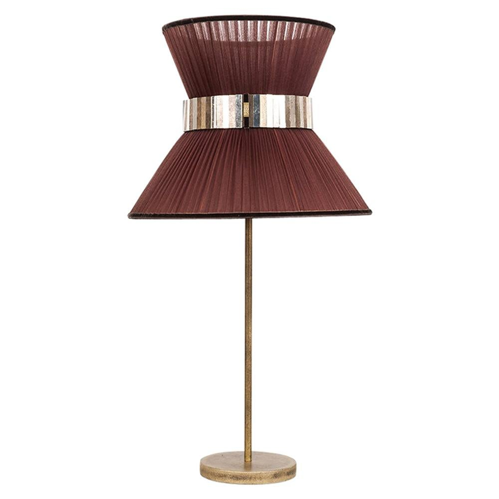 Tiffany Contemporary Table Lamp 40Tobacco Silk Silvered Glass Belt Antique Brass