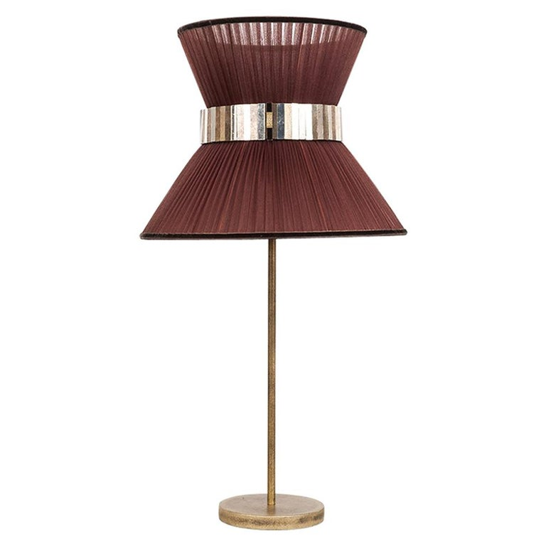 Tiffany Contemporary Table Lamp 40Tobacco Silk Silvered Glass Belt Antique Brass For Sale