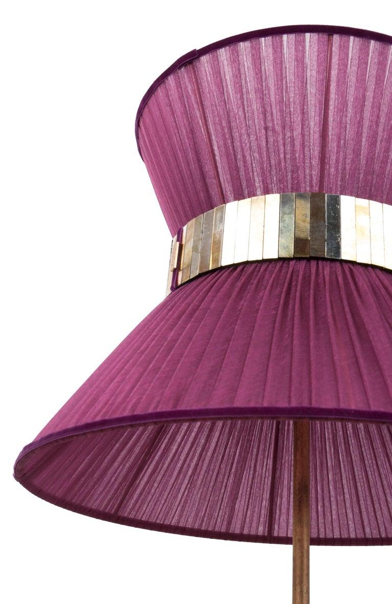 Tiffany Contemporary Table Lamp 40 purple Silk Silvered Glass Brass   In New Condition For Sale In Pietrasanta, IT