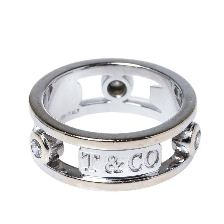 Contemporary Tiffany & Co.Tiffany 1837 Diamond 18K White Gold Ring Size 48 For Sale