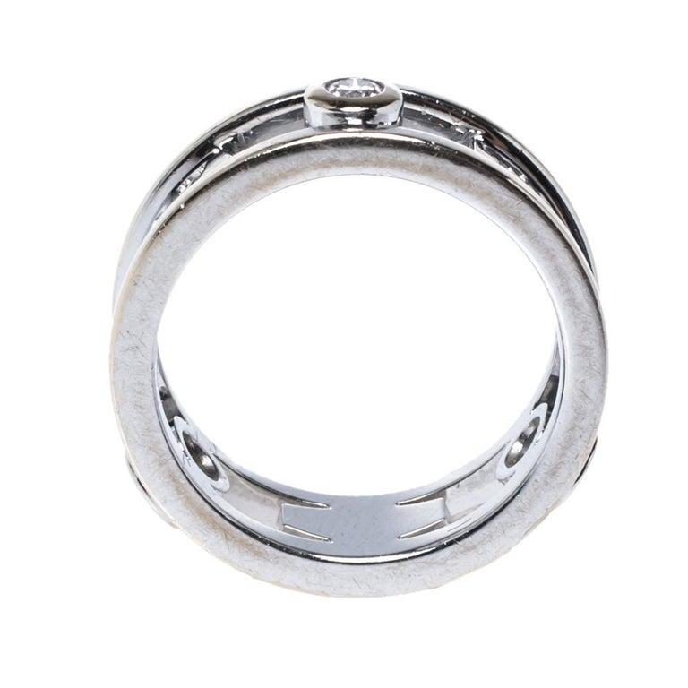 Tiffany & Co.Tiffany 1837 Diamond 18K White Gold Ring Size 48 In Fair Condition For Sale In Dubai, Al Qouz 2