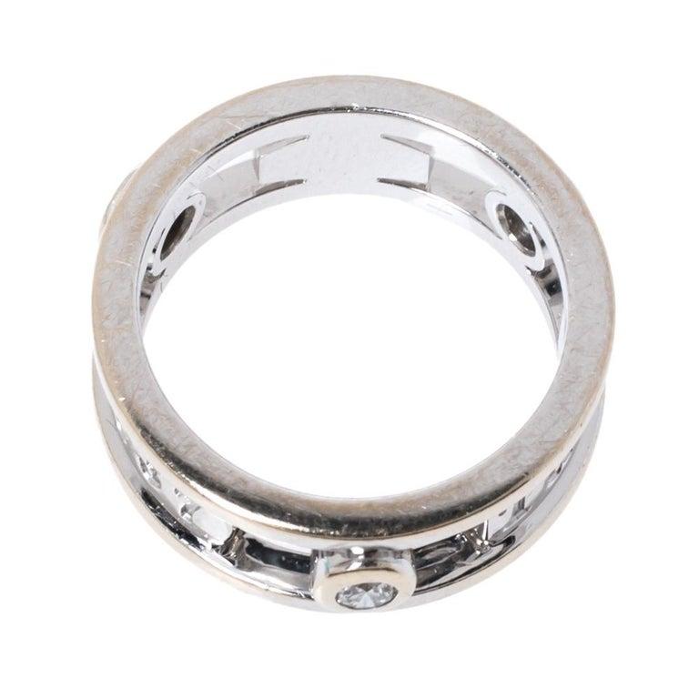 Women's Tiffany & Co.Tiffany 1837 Diamond 18K White Gold Ring Size 48 For Sale