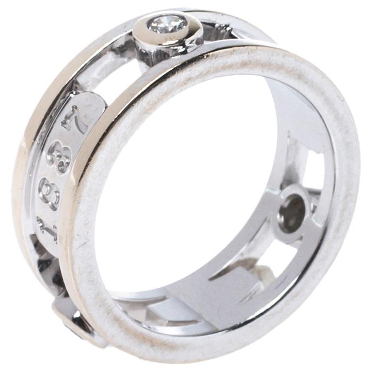 Tiffany & Co.Tiffany 1837 Diamond 18K White Gold Ring Size 48 For Sale