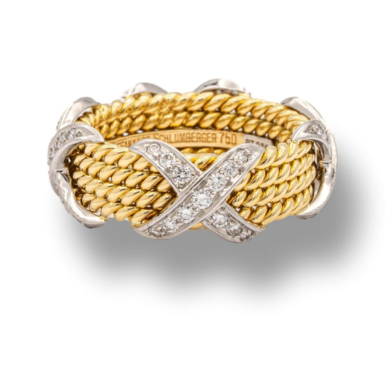 Contemporary Tiffany & Co. Vintage Schlumberger X 4 Row Rope Ring in 18k and Platinum