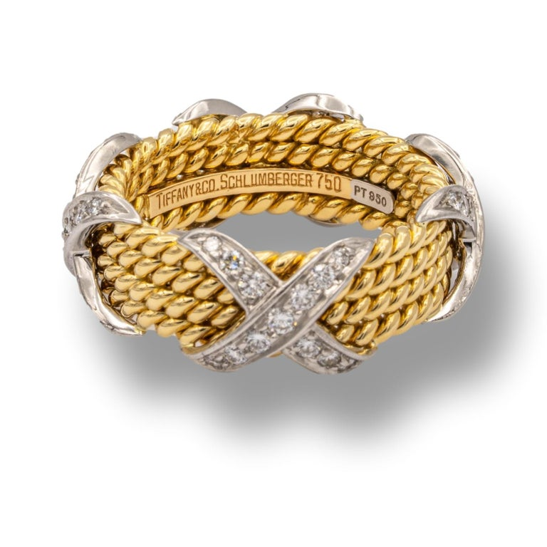 Round Cut Tiffany & Co. Vintage Schlumberger X 4 Row Rope Ring in 18k and Platinum