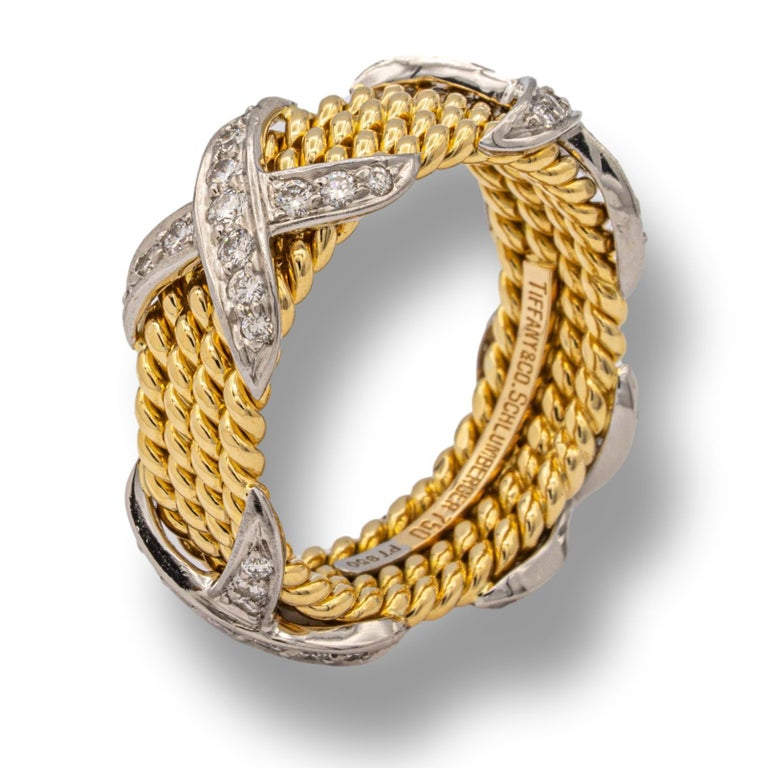 Tiffany & Co. Vintage Schlumberger X 4 Row Rope Ring in 18k and Platinum In Excellent Condition In New York, NY
