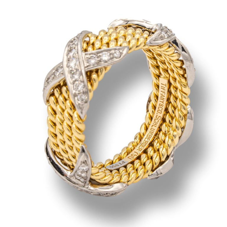 Women's or Men's Tiffany & Co. Vintage Schlumberger X 4 Row Rope Ring in 18k and Platinum