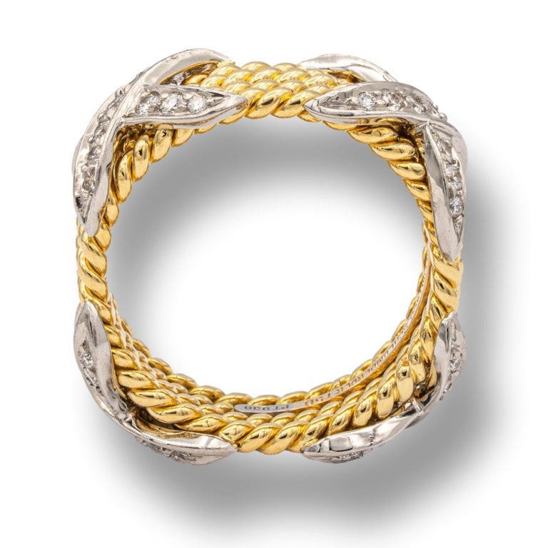 Tiffany & Co. Vintage Schlumberger X 4 Row Rope Ring in 18k and Platinum 1