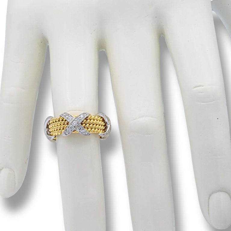 Tiffany & Co. Vintage Schlumberger X 4 Row Rope Ring in 18k and Platinum 2