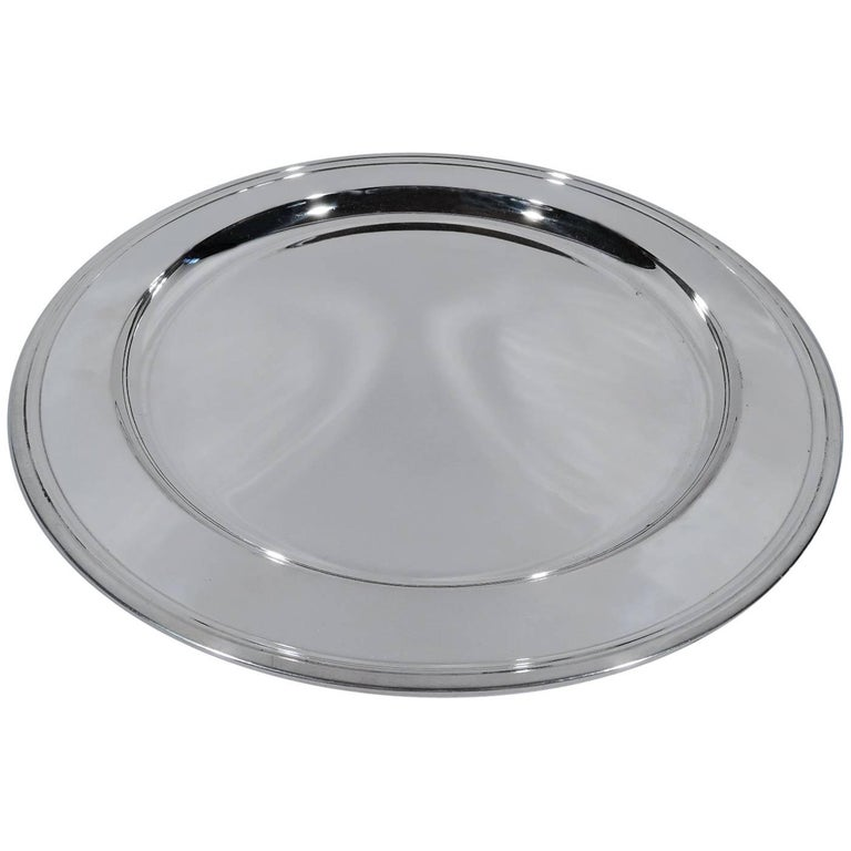 Tiffany Deep and Very Heavy Sterling Silver Serving Tray For Sale
