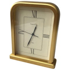 Tiffany  Solid Brass Swiss Desk Clock