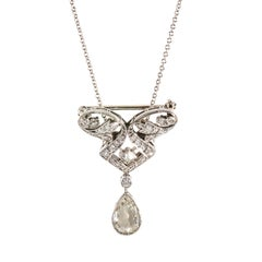 Tiffany Diamond Platinum Teardrop Pendant Pin