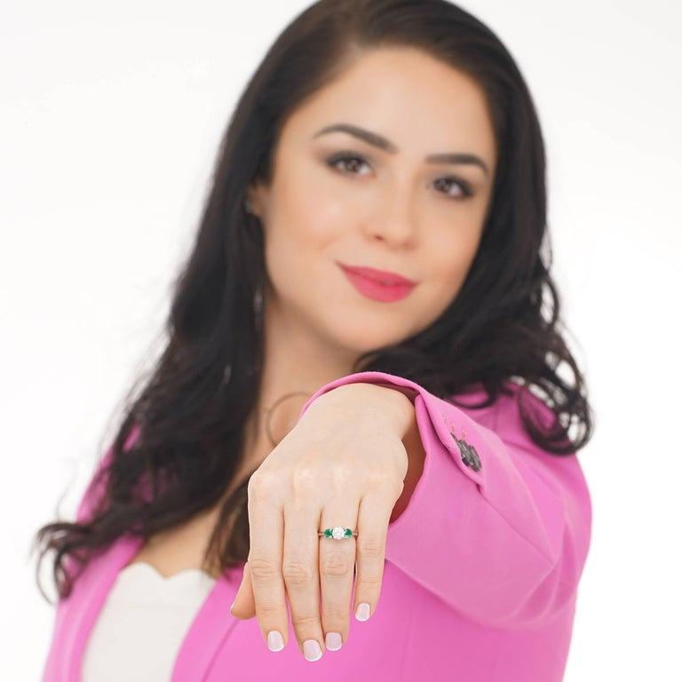 Women's Tiffany Diamond and Emerald Three-Stone Ring GIA For Sale