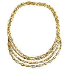 Tiffany Diamond Gold Bib Style Necklace