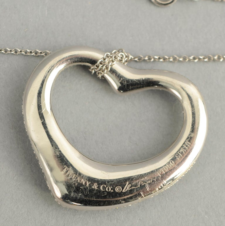 Women's or Men's Tiffany & Co. Diamond Heart Pendant Necklace For Sale
