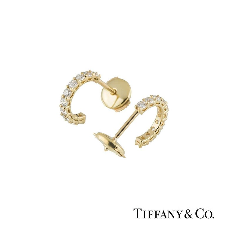 Tiffany Diamond Hoop Earrings In Excellent Condition For Sale In London, GB