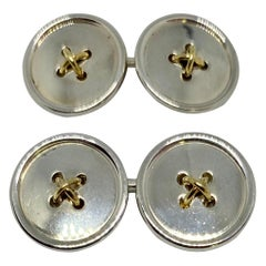 Tiffany Double-Sided Button Cufflinks in 18k Yellow Gold and Sterling Silver