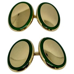 Tiffany Double-Sided Oval Cufflinks in 18K Yellow Gold with Green Enamel