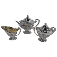 Tiffany Edwardian Classical Sterling Silver 3-Piece Bachelor Tea Set