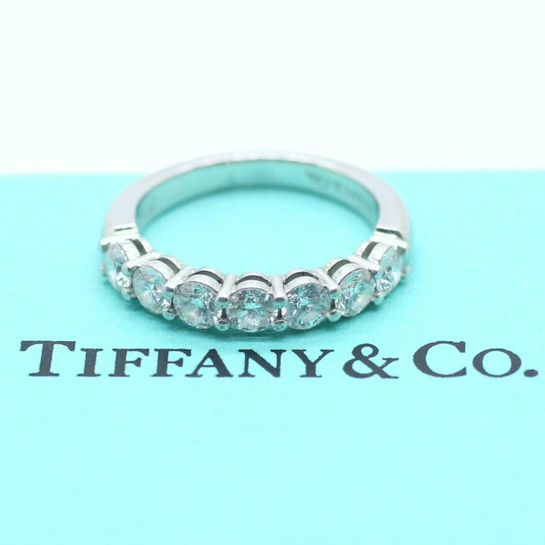 Round Cut Tiffany & Co. Embrace Band Ring in Platinum 7 Diamond Anniversary Ring For Sale