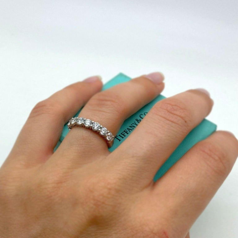 Tiffany & Co. Embrace Band Ring in Platinum 7 Diamond Anniversary Ring In Excellent Condition For Sale In Los Angeles, CA