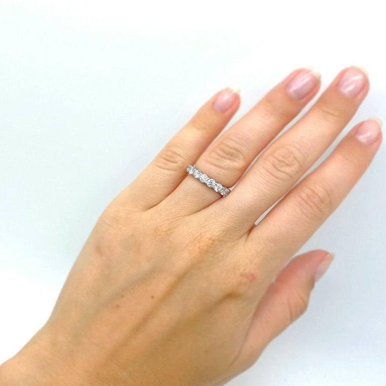 Women's or Men's Tiffany & Co. Embrace Band Ring in Platinum 7 Diamond Anniversary Ring For Sale