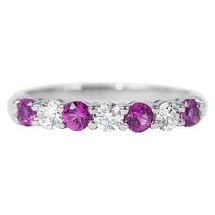 Tiffany & Co. Embrace Band Ring with Brilliant Round Diamonds and Pink Sapphires
