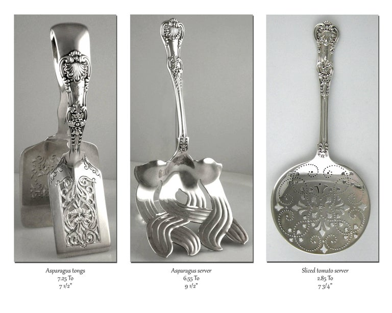 Tiffany English King 246 piece Sterling flatware set (1875-1891).  Tiffany & Co. 246 piece Sterling flatware set  English King pattern (1875-1891) All markings before 1890. An assembled set. Various Tiffany monograms by Tiffany.  Forks: 12