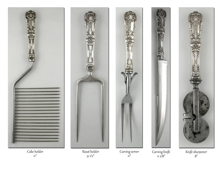 Tiffany English King 246 Piece Sterling Flatware Set, 1875-1891 In Excellent Condition For Sale In Norwalk, CT