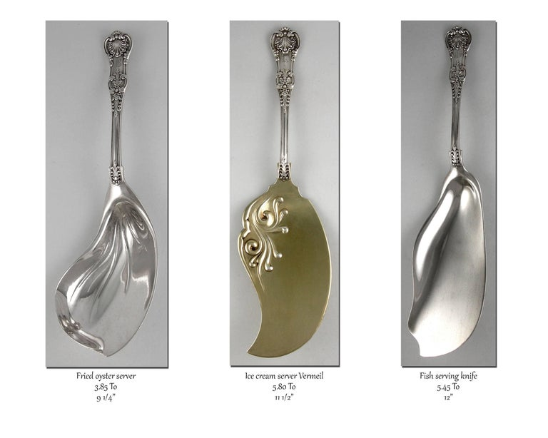 19th Century Tiffany English King 246 Piece Sterling Flatware Set, 1875-1891 For Sale