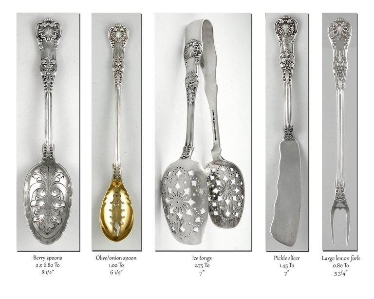 Sterling Silver Tiffany English King 246 Piece Sterling Flatware Set, 1875-1891 For Sale