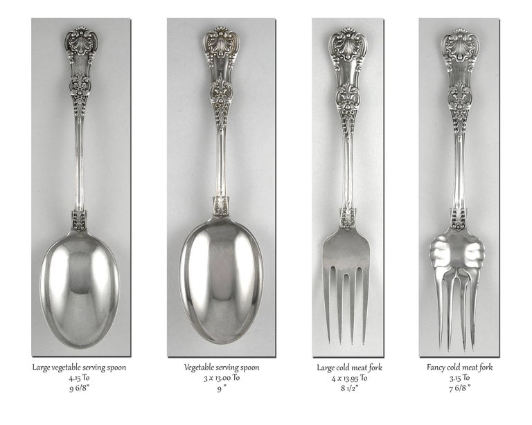 Tiffany English King 246 Piece Sterling Flatware Set, 1875-1891 For Sale 1