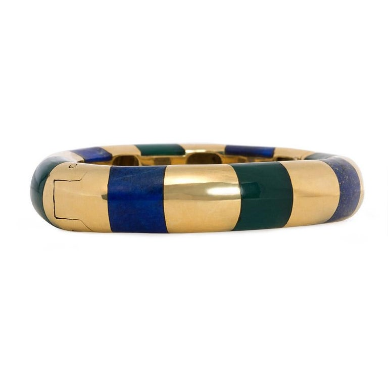 Modern Tiffany & Co. Estate Gold Bangle Bracelet with Inlaid Lapis and Green Onyx For Sale