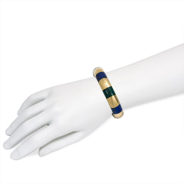 Women's or Men's Tiffany & Co. Estate Gold Bangle Bracelet with Inlaid Lapis and Green Onyx For Sale