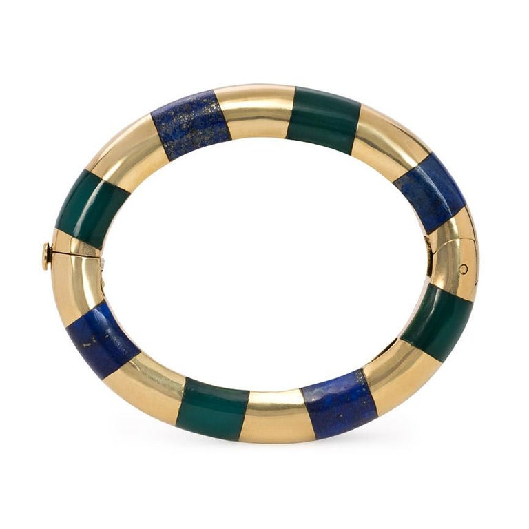 Tiffany & Co. Estate Gold Bangle Bracelet with Inlaid Lapis and Green Onyx For Sale 2
